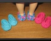 """Special Order for Shannon: 2 sets of slippers shoes 3 Pairs Hand-Crocheted for 18 inch 18"""" dolls pink turquoise will fit American Girl"""