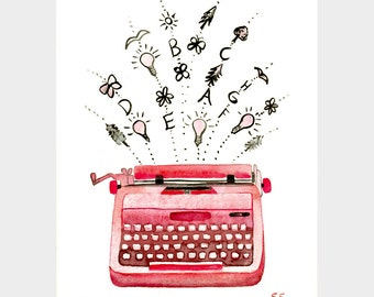 Original watercolor painting Pink typewriter and inspirations Hand painted studio decor