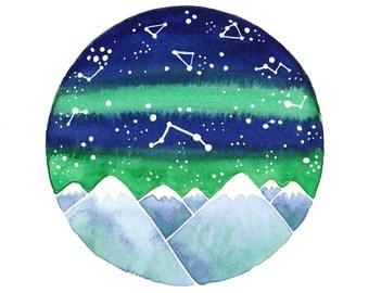 Aries constellation Original watercolor painting star sign zodiac art