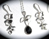 Silver cascading orchid necklace and earring set ~ Sterling Silver ~ Destination wedding jewelry ~ Brides jewelry set ~ Bridesmaids ~ Gift
