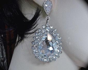 Crystal Rhinestone Earrings ~ Large ~ Statement earrings ~ Bridal Jewelry ~ Sterling silver posts ~ Top seller
