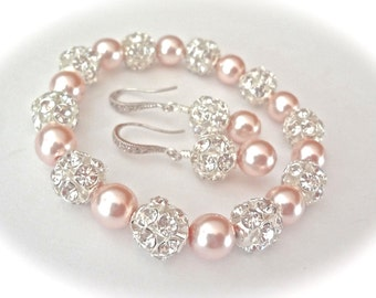 Pearl bracelet and earring set ~ Chunky ~ Swarovski pearls and crystals ~ Sterling silver ear wires ~ Bridal jewelry ~ Bridesmaids ~ SHARP