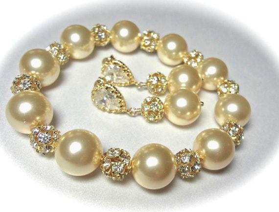 Chunky gold pearl bracelet and earring set ~ Swarovski pearls and crystal fireballs ~ Elegant ~ Bridal Jewelry ~ Bridesmaids ~ Gift ~ LOLITA