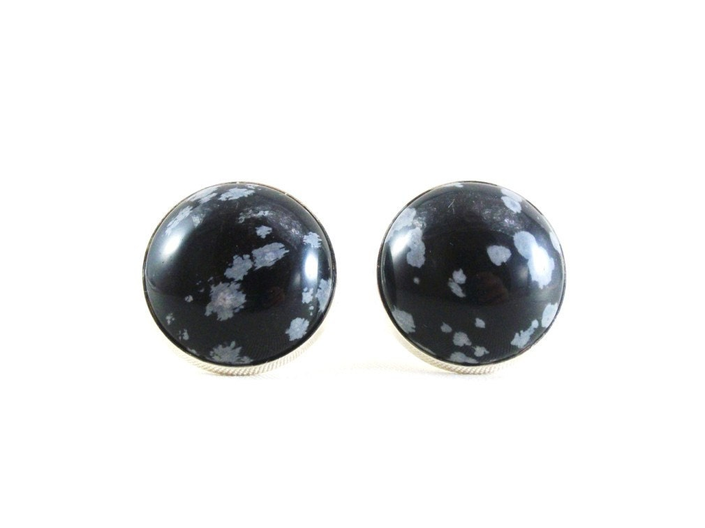 White Snowflake Obsidian : Snowflake obsidian gemstone cufflinks father s day gift
