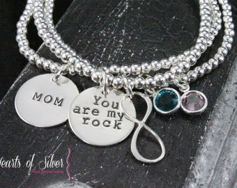 Infinity Sterling Silver Stacking Bracelets- Hand Stamped- Charm Bracelet- Mommy Jewelry