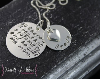 Mother Son Necklace- Hand Stamped Necklace - Sterling Silver Mother's Necklace