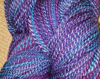 Hand Spun and Painted Domestic Merino Wool Yarn,  2 Ply, Worsted Weight. Blues, Burgandy, Purple 400 yards.