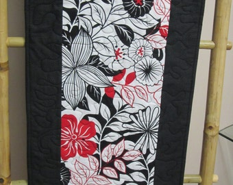 """Quilted Table Runner 13"""" x  45"""" Black and White with a Splash of Red"""