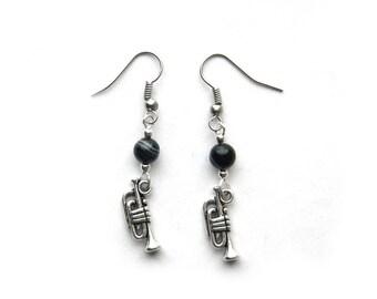 Jazz Trumpet Earrings - Natural Stripe Black Onyx
