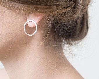 Circle post earrings matte Silver plated, Modern Circle Earrings, Stud Circle Earrings with wavy texture perfect for everyday wear