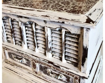 Up Cycled, Rustic, Painted, Shabby Chic White Jewelry Trinket Box