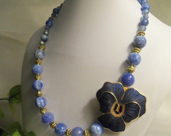 Sale- GORGEOUS One of a Kind Women's HandCrafted Blue VIOLET Beads & 14kt GOLD Pltd Brooch Necklace- Birthday Gift Her Mom Mother Mum Teen