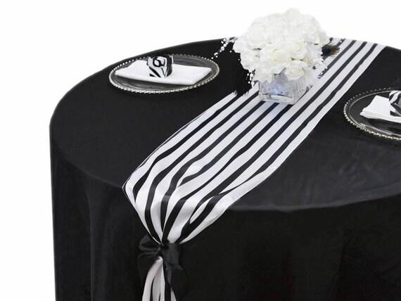 Items Similar To Black And White Stripe Satin Table