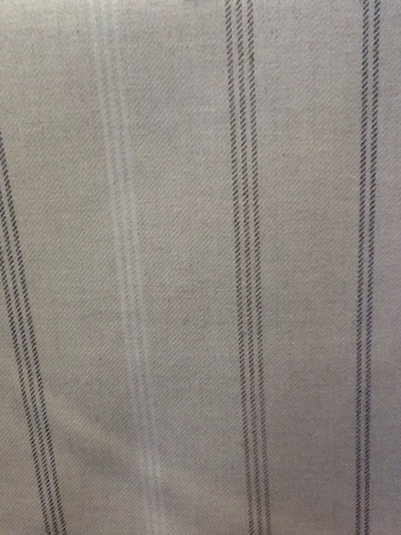 Waterford stripe in natural 100 cotton curtain fabric by for Childrens curtain fabric by the metre