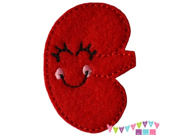 Kynnedy the Kidney on Red Felt Embroidered Embellishment Clippie Cover SET of 4 - Multiple Sets Available
