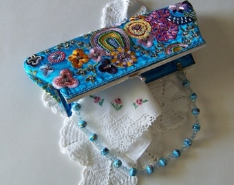 Prom Purse Blue Satin Beaded Evening Bag Embroidery, Sequins, Baggles, from the 1960's