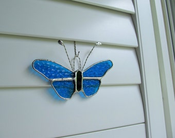 Stained Glass Aqua Hammered Glass Butterfly Suncatcher