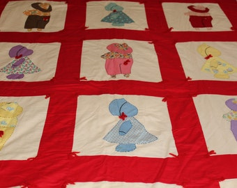 Vintage Sunbonnet Sue quilt handmade in red and white