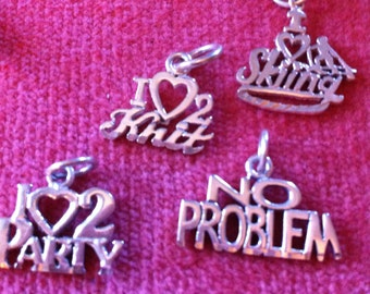 Choice of Four Sterling Silver Pendant or Charm