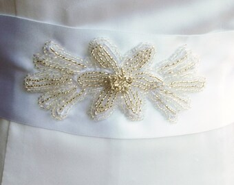 Bridal Sash Beaded White Satin Ribbon and Rhinestones For Wedding or Special Occasions