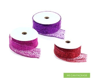 1.5 Inch Glitter Wired Ribbon Sparkle for Floral Arrangements DIY Craft Wedding Party