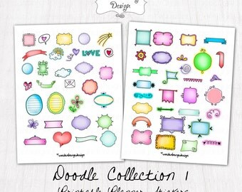 Printable Planner Stickers- Hand-drawn Doodle Stickers - Perfect for the Erin Condren Life Planner