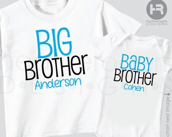 Personalized Big Brother Shirt & Baby Brother Shirt or Bodysuit - 2 Personalized Brother Shirts or Bodysuits