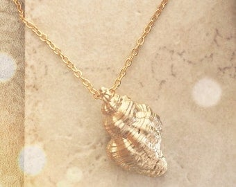 Gold Necklace Gold Shell Necklace Bridesmaid Gift, Sea Shell Jewelry, Mothers Gift Bridesmaid Jewelry Gift Limonbijoux