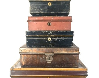 Antique tole tin document Box