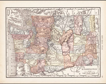 Washington State Map of Washington Counties, 1910 Antique & Colorful Illustrated 11x14 State Map (Reverse: Full-Page Alaska Map) No. 105-106