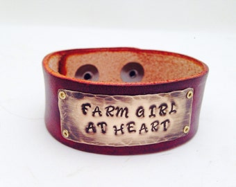 Hand Stamped Copper Leather Bracelet Cuff Farm Girl At Heart British tan Leather