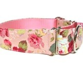 "Pink Floral Dog Collar 1.5"" Pink Dog Collar BUCKLE SIZE LARGE"