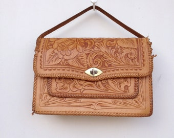 Tooled Leather Purse, Caramel Tan, Vintage Western Bohemian