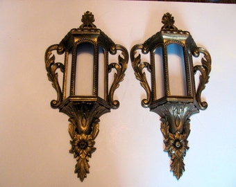 Gold Wall Sconces / Lantern Style Wall Sconces / Hollywood Regency Style Wall Decor