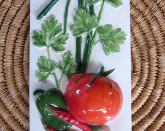 Ceramic Salsa Tile -- Handpainted Architectural TILE FOR INSTALLATION, 4x8, Tomato, Peppers, Cilantro, culinary series
