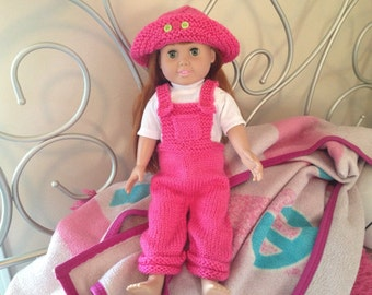 American Girl Doll Clothes 18 inch doll Candy Pink colored Overalls with Candy Pink Hat with button detail Ready to Ship