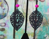 Hot Pink and Black Wooden Earrings