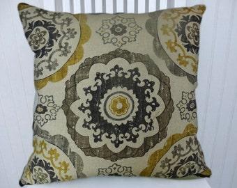 Grey Black Gold Suzani Pillow Cover- Decorative Pillow Cover 18x18 or 20x20 or 22x22 or 24x24-   Throw Pillow- Accent Pillows