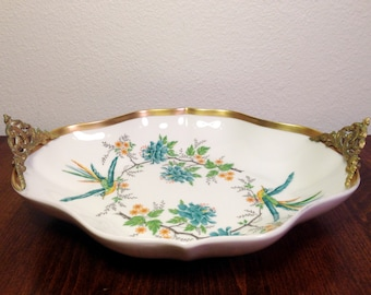 LIMOGES Decorative Bowl Pheasants Flowers