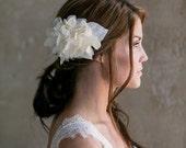 Ivory Flower Fascinator, Bridal flower, hair clip, Organza petals, velvet leaves - Anna - FA152
