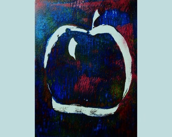 Apple 2/2 Original Monoprint Contemporary Abstract Acrylic Painting 5x7 White Red Blue Green Fruit Minimalist