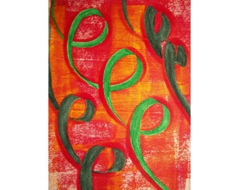 Curls 2/2 Original Monoprint Contemporary Abstract Acrylic Painting 5x7 Red Orange White Loops