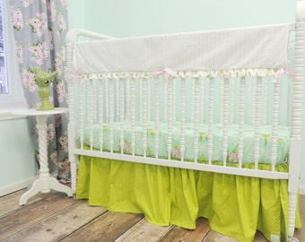 Boutique Cribset in Aqua, Pink, Green, and Gold with Mockingbird Print