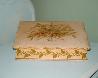 Hand Painted Tole Antique Letter Box Jewelry Box Wood Pink Chic Storage Italian French