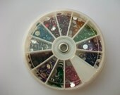 Wheel of Rhinestone Faceted Acrylic Flat Backs 12 Colors, 1200pc, Nails and Crafts