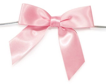 12 LIGHT PINK Satin Bows - Ready For Use