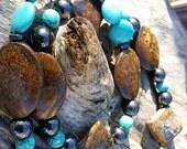 Destash necklace, bronzite, dyed magnesite, hematite, will add sterling lobster clasp when sold-priced to sell-