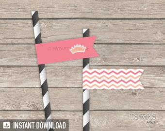 Little Princess Baby Shower Party Flags - Pink Peach Chevron - INSTANT DOWNLOAD - Printable PDF