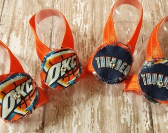 Barefoot Sandals - OKC Thunder Baby Fabric Flower - Shabby Chic