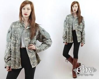 Camo Shirt Camouflage Shirt Vintage Camo Jacket Military Jacket Army Jacket Camouflage Jacket Camo Shirt 90s Grunge Jacket